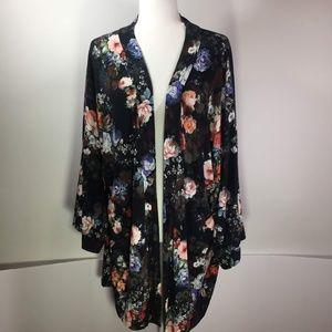 ASOS Black with Floral Print Kimono Size 16